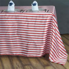 """60x126"""" WHITE / RED Striped Wholesale SATIN Banquet Linen Wedding Party Restaurant Tablecloth"""