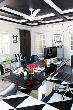 Get the look: Hollywood Glam black and white office space — The Decorista