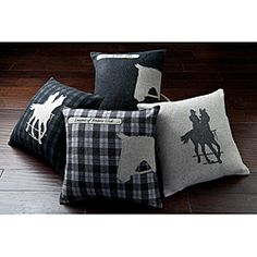 This set of four decorative pillows brings a uniqueness and style into your home. You are sure to spice up your space with these one-of-a-kind designs.  http://www.overstock.com/Home-Garden/Horses-Decorative-18-inch-Pillows-Set-of-4/6640755/product.html?CID=214117 $93.99