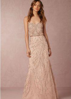 Vestido de novia rosa de BHLDN