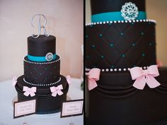 Black fondant wedding cake with turquoise quilting, pearl details, and pale pink fondant bows | villasiena.cc