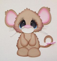 BROWN AND PINK MOUSE BOBBLE BUDDY PAPER PIECING BY MY TEAR BEARS