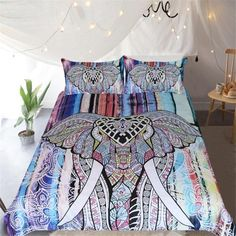 Indian Elephant Bedding Set Bohemian Duvet Cover Set Queen Mandala Home Textiles Exotic Colorful Bedclothes Elephant Duvet Cover, Elephant Bedding, Queen Size Bed Sets, Queen Size Bedding, Cotton Bedding Sets, Comforter Sets, Bohemian Bedding Sets, Mandala Elephant, Egyptian Cotton Bedding
