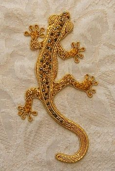 Bead-embroidered Gecko in Goldwork