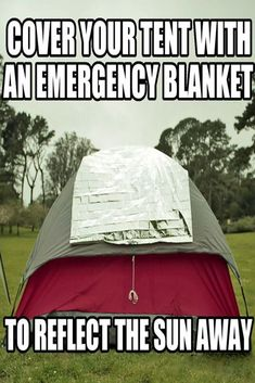 Is the sun's heat and light already uncomfortable? Use an emergency blanket. #camp #camping #outdoor #travel #tent #campfire #campvibes #bootcamp