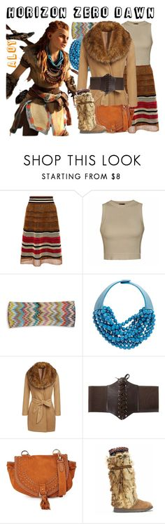 """Aloy from Horizon Zero Dawn"" by imanirine on Polyvore featuring RED Valentino, Ally Fashion, Missoni, Fairchild Baldwin, See by Chloé, Muk Luks, Winter, tribal, fur and videogame"