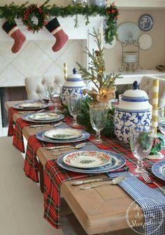 Christmas China, Christmas Dishes, Christmas Tablescapes, Christmas Mantels, Plaid Christmas, Christmas Design, Christmas Holidays, Christmas Settings, White Christmas