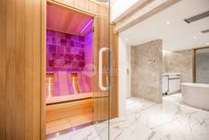Add one of our custom built infrared saunas to your bathroom, and feel the benefits it has to offer anytime you desire. Cool Swimming Pools, Best Swimming, Infrared Heater, Infrared Sauna, Indoor Sauna, Barrel Sauna, Traditional Saunas, Salt Room, Sauna Design