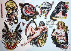 Done by Chris Smith. Traditional Tattoo Prints, Traditional Tattoo Old School, Traditional Tattoo Flash, Badass Tattoos, Life Tattoos, Rockabilly Tattoos, Pin Up Girl Tattoo, Comic Tattoo, Old School Tattoo Designs