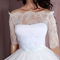 Off-Shoulder  /ivory/ wedding bolero/chantilly von UpToDateFashion