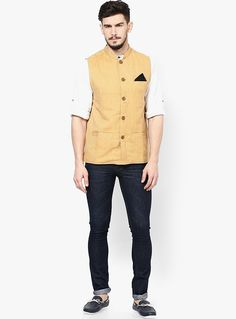 Yellow nehru jacket with black jeans - perfect for college parties!