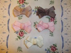 Plain double bows mini clips - brown, tan, pink and cream