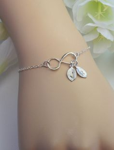 Mother's Day Bracelet, Silver Infinity Bracelet, Personalized Jewelry,Initial Infinity,Couple's Initials,Friendship Bracelet, Mother Jewelry