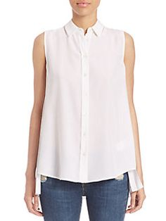 Equipment - Solid Pleated Silk Blouse