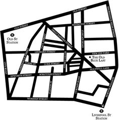 Map of London showing location of The Old Blue Last