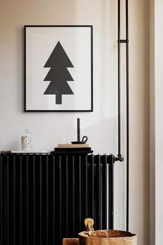 Modern Black & White Christmas Tree DIY Printable Wall Art   Etsy White Christmas Trees, Modern Christmas, Christmas Home, Minimalist Poster, Minimalist Art, Scandinavian Home, Printable Wall Art, Poster Prints, Art Prints