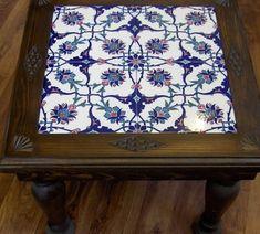 Mosaic Tile Table, Tile Tables, Ceramic Table, Ceramic Art, Kaya, Home Crafts, Diy And Crafts, Turkish Pattern, Turkish Tiles