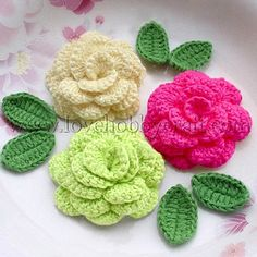 Attractive Four-layer Handmade Flower Appliques   Cotton