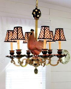 MacKenzie-Childs Rooster Chandelier (My first MC purchase, a set of Courtly Check lampshades, while in NYC this past March. They now grace my family room mantle beautifully)