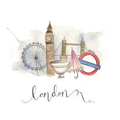 London Whimsy Print by HNIllustration on Etsy, $12.00 @kayetaylor5 thought of you :)