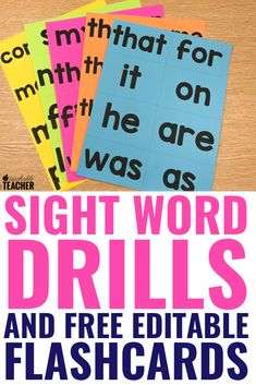 Learn how to use sight word flashcards to increase mastery with these three sight words drills. They are quick, simple and research based! Sight Word Apps, Sight Word Flashcards, First Grade Sight Words, Sight Word Activities, Second Grade, Word Games, Sight Word Wall, Spelling Activities, Reading Fluency