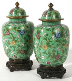 hajandrade:  Pair of Chinese Cloisonné Ginger Jars