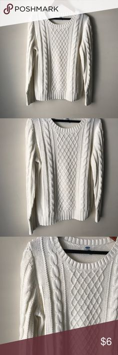 "Old Navy off white chunky knit sweater Chunky knit sweater - long sleeves - acrylic - chest across measures 20"" - total length measures 24"" - size L Old Navy Sweaters"