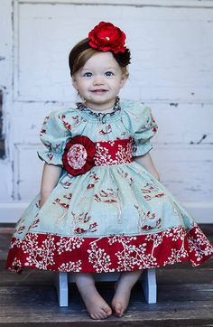 Red and aqua christmas dress Girls Holiday Winter Berry Peasant Dress in Noel by ItsaBowsLife, $48.00 Moda fabrics Winters Lane toddler Christmas dress Girls Christmas dress