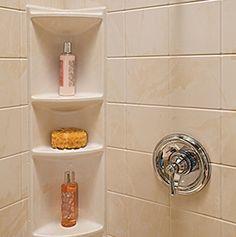 Best Ideas For Bathroom Shower Corner Shelves Tubs Bathroom Corner Shelf, Corner Shower Caddy, Corner Shelves, Modern Bathroom Tile, Bathroom Interior, Small Bathroom, Bathroom Ideas, Master Bathroom, Shower Storage