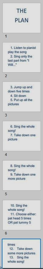 """SINGING TIME IDEA: POST """"THE PLAN"""" on the board (a big poster board outlining all the steps of what we will do [see list below]).  TELL the kids we have to f..."""