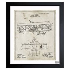 Inspired by authentic patent drawings of the Wright Brothers' plane, this American-made framed print makes a perfect accent to flea market finds and vintage ...