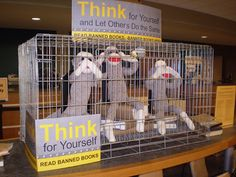 """Banned Books """"Don't Monkey with My Right to Read Display"""" Memphis, TN by LJ110, via Flickr"""