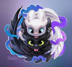 HTTYD 3 Toothless& new female night fury Cute Disney Drawings, Cute Animal Drawings, Kawaii Drawings, Toothless And Stitch, Toothless Dragon, Photo Pokémon, Dragon Pictures, Cute Dragons, Cute Disney Wallpaper