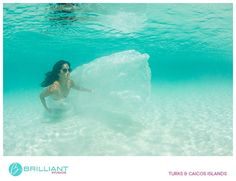 Bride under water in the Turks and Caicos during a Trash the Dress shoot