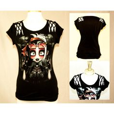 Gothic Love Lattice Shoulder Tee ($40) ❤ liked on Polyvore featuring tops, t-shirts, black, women's clothing, henley shirt, black shirt, t shirts, baby doll shirts and black t shirt