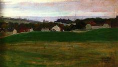 Meadow with Village in Background II 1907- Egon Schiele