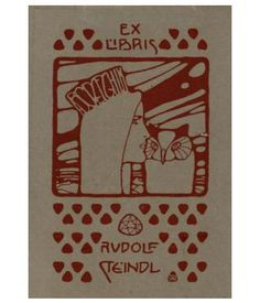 Koloman Moser (1868–1918), Austrian / bookplate for Rudolf Steindl, 1900 .. depicts woman wearing crown or tiara kissing an owl, w/ rows of heart shapes, Vienna Secession style, Austria