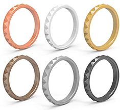 6-Pack Comfortable /& Antibacterial Arua Thin Silicone Wedding Rings for Women Fashion Rubber Wedding Bands Stackable Silicone Rings Diamond Pattern