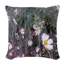 White Daisy Woven Throw Pillow