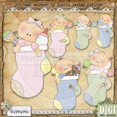 Baby Stockings 1 - Cheryl Seslar Country Clip Art