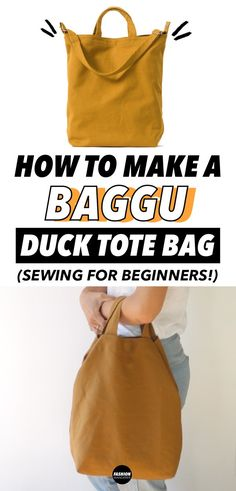This how to make a BAGGU duck tote bag tutorial is THE BEST DIY project ever! So easy step by step tutorial with free pattern for beginners. Perfect for school and work with pockets and straps. #totebag #BAGGU #DIY #bags #canvas #tote #cotton #freepattern #crafty #sewing #sew #easysewing #diyproject #beginner #sewingprojects #seasysewingprojects #sewingpattern #upcycledfabric #accessories #chic