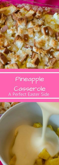 Pineapple Casserole is the perfect side for you Easter ham. This family recipe i. Pineapple Casserole is the perfect side for you Easter ham. This family recipe is easy to make and always a crowd pl Easter Recipes, Summer Recipes, Holiday Recipes, Dinner Recipes, Holiday Foods, Egg Recipes, Pineapple Casserole, Pineapple Stuffing, Ham Dinner