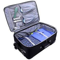 Amazon.com | U.S Traveler New Yorker Lightweight Expandable Rolling Luggage 4-Piece Suitcases Sets - Grey | Luggage Sets