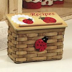 ladybug kitchen decor recipe box | home kitchen kitchen dining storage organization