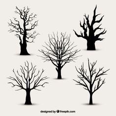Silhuetas da árvore sem folhas Vetor grátis                                                                                                                                                     Mais