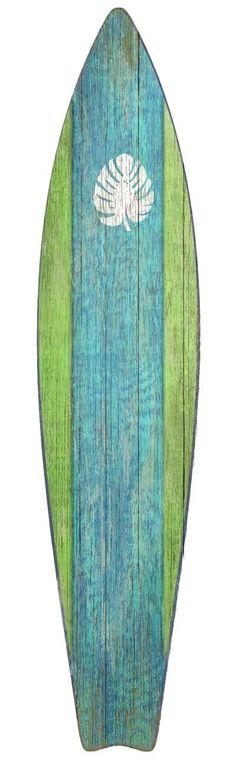 Surfboard Green Wood Wall Art: Beach Decor Coastal Decor Nautical Decor Tropical Decor Luxury Beach Cottage Decor #vintagebeachcottages #beachcottagesdecor