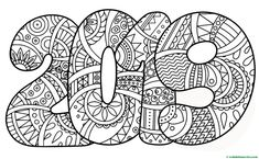 Dibujo para colorear de 2019- Coloring Book Pages, Coloring Sheets, Ecole Art, Nouvel An, Printable Coloring, Free Coloring, Artist Art, Arts And Crafts, Doodles