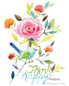 Think Happy Bird Art Print by stephanieryanart on Etsy