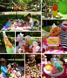 Teddy Bear Picnic and stuffed animal birthday party free templates for party hats, garland, cupcake topper and sign