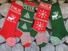 FOR 2016! Hand knit Christmas Stocking Red Dark Green White with Tree Snowflakes Stripes Christmas decoration Christmas gift